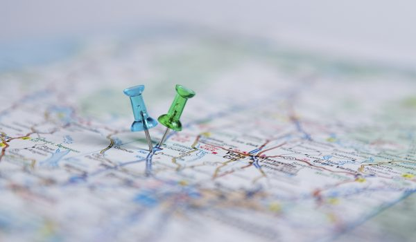 Pins on a road map