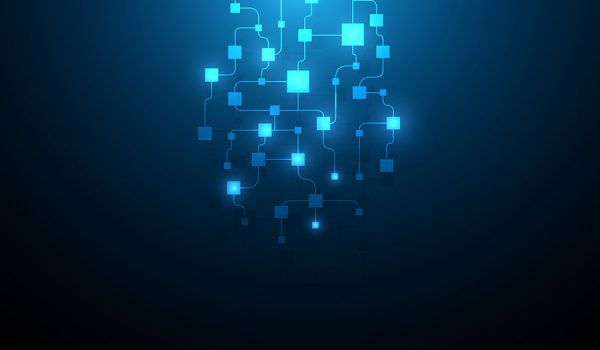 Digital connected blocks, blockchain concept art