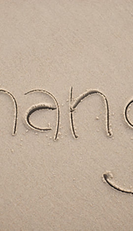 Change hand written in sand
